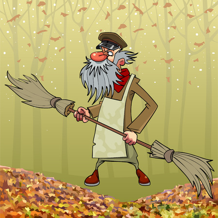 Cartoon bearded old janitor with double sided broom in autumn park