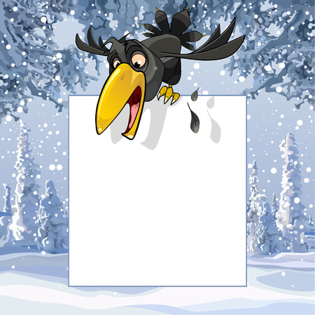 Cartoon crow over a blank sheet in winter snowy forest Illustration