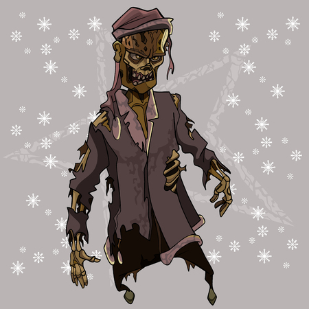 cartoon scary zombie in tattered santa claus costume Illustration