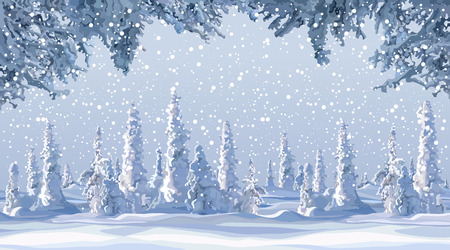 cartoon beautiful winter background with snow covered firs in snowfall Illustration