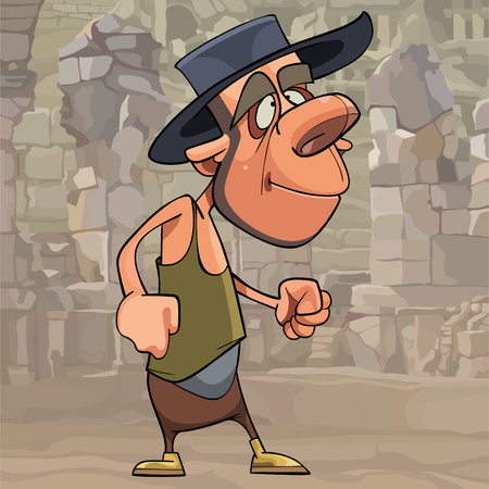 cartoon funny man in a hat clenched his fists stands on the background of stone ruins