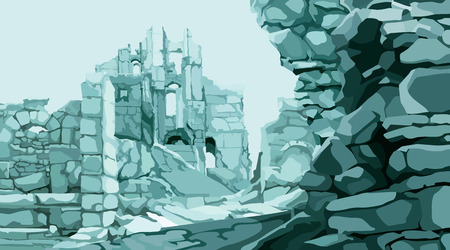 painted blue background stone ruins of an ancient fortress