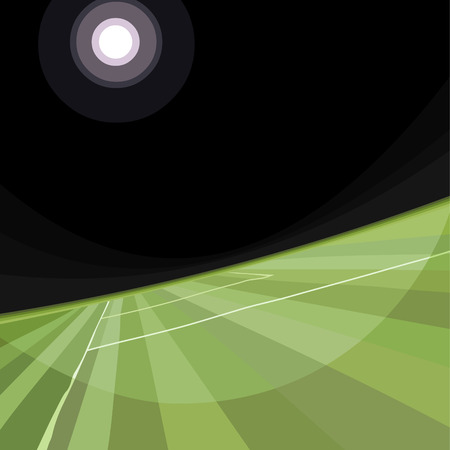 Drawn abstract lighted large green soccer field. Diagonal view Illustration