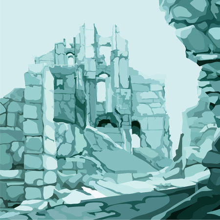 background drawn ancient ice stone ruins in blue color