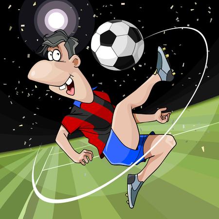 Cartoon fröhlicher Fußballspieler tritt den Ball auf dem Fußballplatz