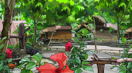 painted courtyard landscape with wooden buildings and tropical plants Ilustrace
