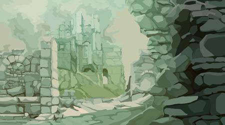 rovine di pietra medievali dipinte nella nebbia di toni verdi grigi Vettoriali