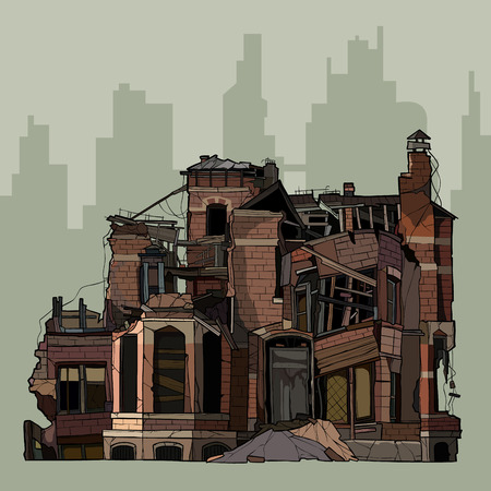 painted ruins of two story brick mansion