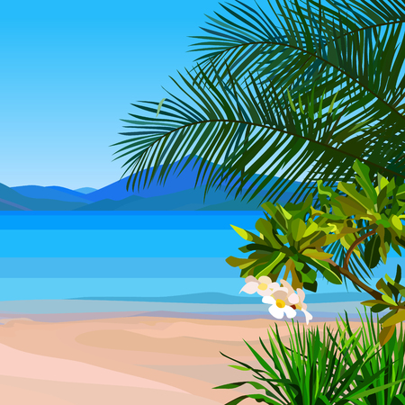 drawn beach background with azure water and tropical plants