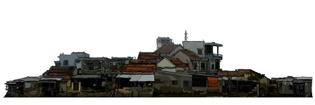 dilapidated old low rise residential buildings painted on a white background  イラスト・ベクター素材