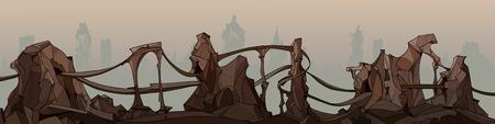 panorama peint falaises de pierre fantastiques avec routes en ruines