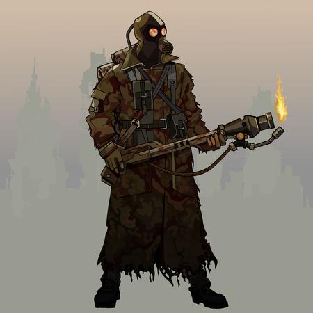 dessin animé armé d'un lance-flammes en masque à gaz et vêtements post-apocalypse