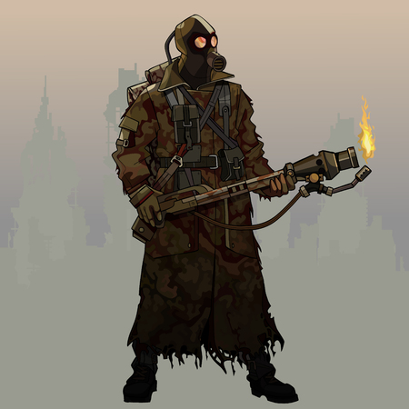 cartoon armed with flamethrower man in gas mask and post apocalypse clothes