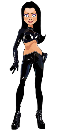 cartoon beautiful brunette girl in sexy black latex clothes Stock Vector - 122700216