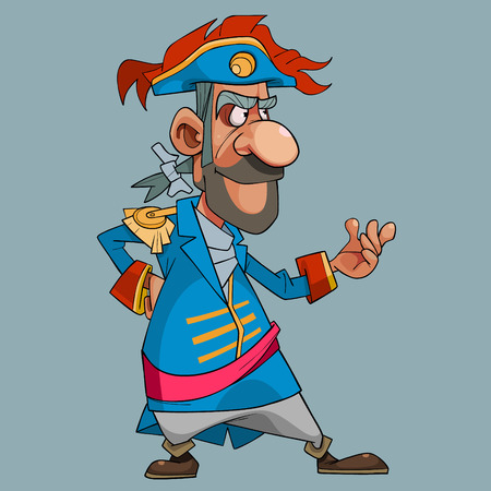 Cartoon man in theatrical medieval dress captain stands in pose  イラスト・ベクター素材