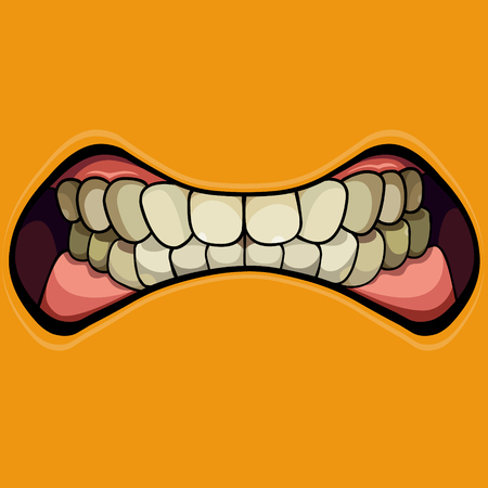 cartoon grinning mouth with clenched teeth on yellow background
