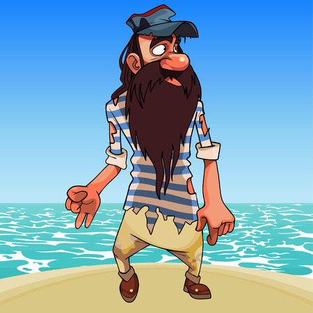 cartoon bearded survivor man in tattered clothes stands on the seashore Stock Illustratie