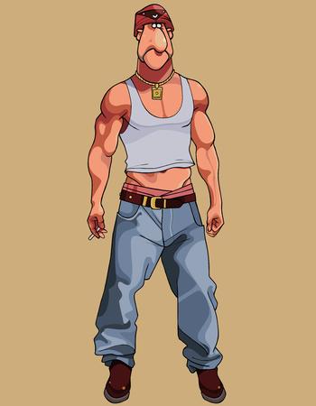 cartoon muscular macho man in wide pants and short T-shirt
