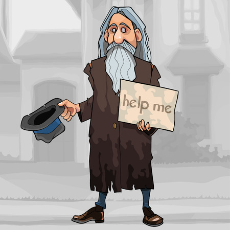 cartoon homeless gray haired bearded man begs for alms on the street