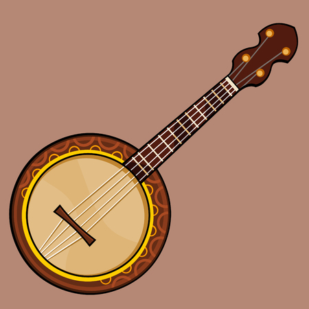 drawn musical stringed plucked instrument banjo brown Illustration