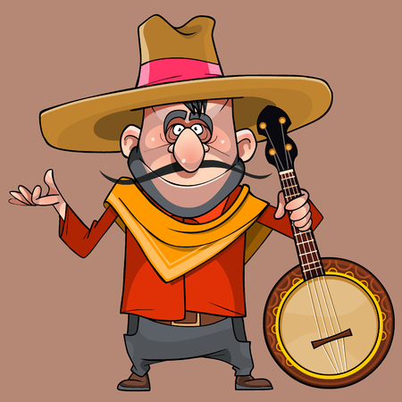cartoon funny male musician in a sombrero with banjo in his hand