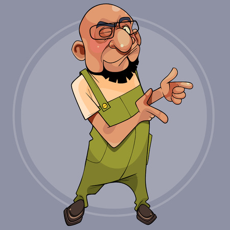 cartoon character is a bearded man and with glasses winks and points his fingers to the side Illustration
