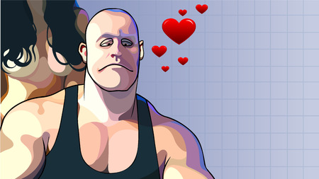 cartoon lover sad muscular guy with woman behind him 向量圖像