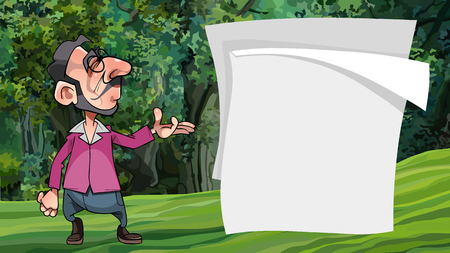 cartoon man shows with hand on blank paper posters in the forest