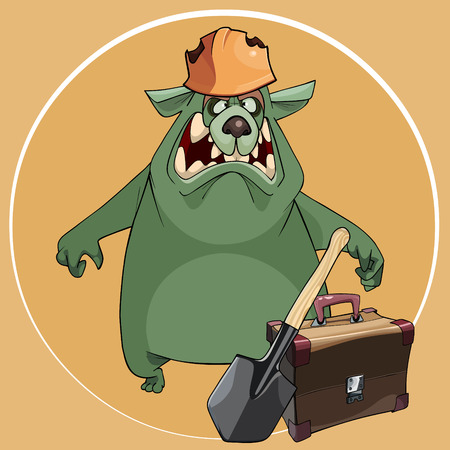 cartoon angry green bear in tattered helmet with a suitcase and a shovel