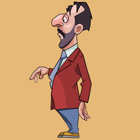 Cartoon solid man with a big nose in a suit and tie. Side view Ilustração