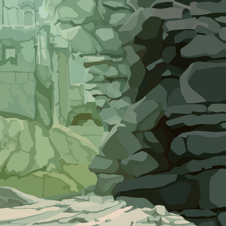 stone ruins background with stone protruding wall in green tones