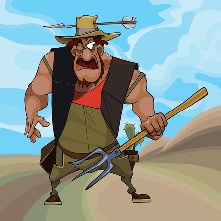 cartoon funny farmer defends himself with pitchfork in his hand