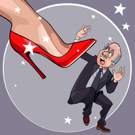 cartoon frightened man fell under womans heel