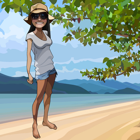 cartoon smiling girl in a hat stands on the seashore under a tree  イラスト・ベクター素材