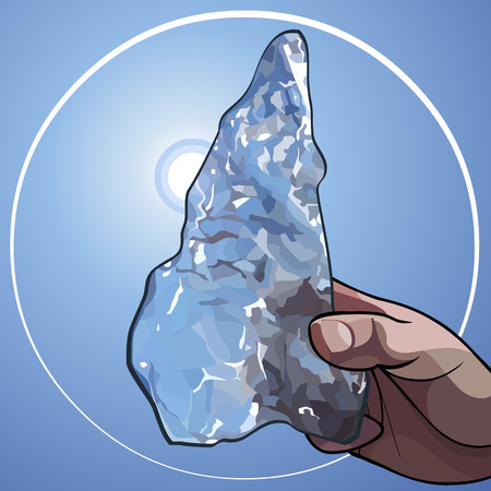 cartoon hand holding sunlit piece of ice