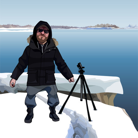 cartoon man stands next to tripod on the icy riverbank