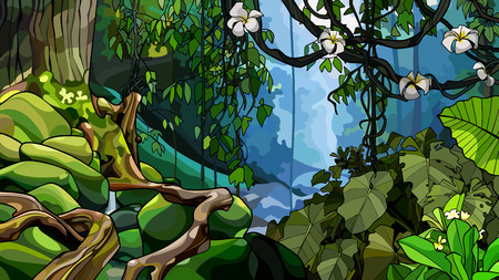 unpassierbarer Dschungelhintergrund mit dicken tropischen Pflanzen