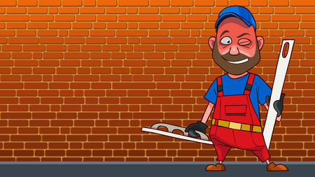 cartoon smiling man in red jumpsuit with tools for plaster wall