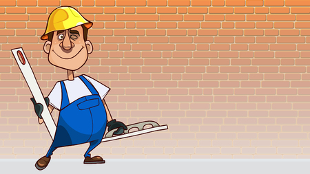 cartoon smiling man in a blue jumpsuit in a helmet with tools for plastering a wall  イラスト・ベクター素材