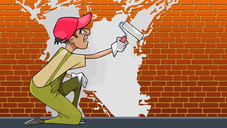 cartoon plasterer paints brick wall with white paint