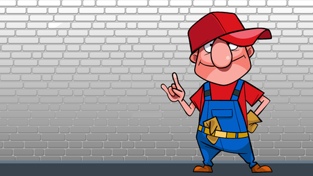 Cartoon joyful man in working overalls posing against a white brick wall