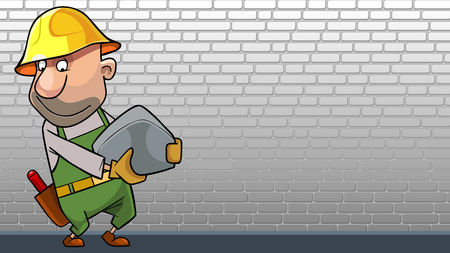 cartoon man in working overalls with a stone in his hands against the background of a white brick wall
