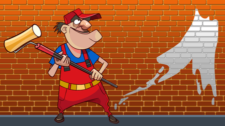 cartoon worker with a roller in his hands paints brick wall  イラスト・ベクター素材