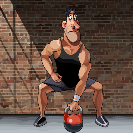cartoon male athlete doing exercise with kettlebell on a brick wall background