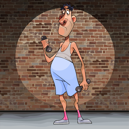 cartoon funny man not an athlete deals with dumbbells on a brick wall background