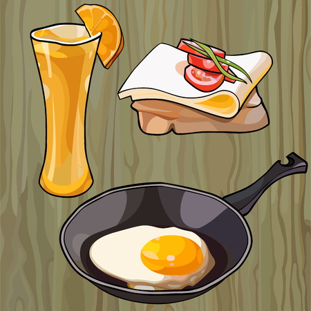 scrambled eggs in a pan with a sandwich and a glass of juice