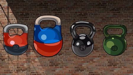 cartoon multicolored mixed kettlebell on a brick wall background