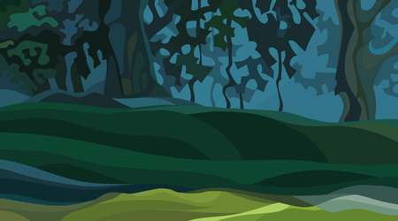 background of cartoon abstract dense summer dark forest with knolls