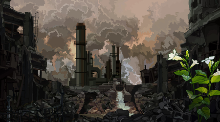 dunkler Hintergrund postapokalyptischer Industrieruinen mit einer gekeimten Grünpflanze