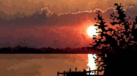 summer red sunset landscape by the river with pier silhouette